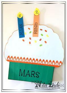 Class cupcake birthdays calender.