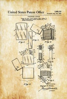 A patent print poster of a Phyrophoric Lighter invented by George W. Owen for the Zippo Manufacturing Company. A Zippo lighter is a reusable metal lighter manufactured by American Zippo Manufacturing Company of Bradford, Pennsylvania, United States of America. The lighter got its name because the owner of the company liked the sound of the ...