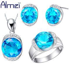 Almei Red Blue Set New Lady Jewellery Silver Bijuterias Crystal Jewelry Sets for Woman Bridal Earring Pendants Ring Bijoux T088