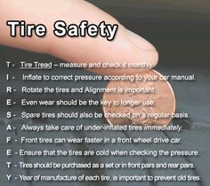 Whether your are traveling for the holidays or just a quick trip to the store.. these are great tips to remember when checking your tires!