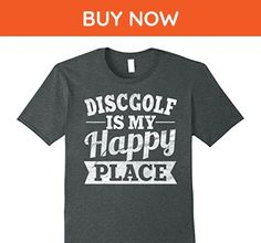 Mens Discgolf Is My Happy Place Shirt: Funny Frisbee Golf Tee XL Dark Heather - Funny shirts (*Amazon Partner-Link)