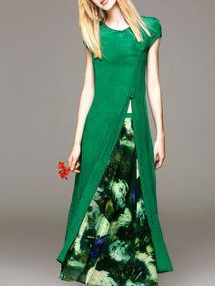 Green Short sleeve Two Piece Slit Silk Two Piece Maxi Dress