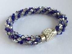 Royal Blue AB Crystal Kumihimo Bracelet with Shamballa Clasp by CristalliDesigns on Etsy Royal Blue, Gifts For Her, Beaded Bracelets, Crystals, Trending Outfits, Unique Jewelry, Handmade Gifts, Etsy, Vintage