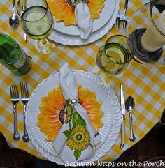 Sunny Yellow Tablescape for Two!!! Bebe'!!! So bright and colorful!!! Love this cute Tablescape!!!