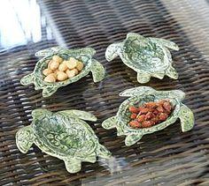 Tortue extérieure Salad Plate & Snack Bowl, Set de 4