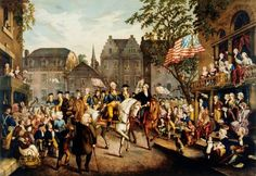 A depiction of George Washington riding into New York on November 25, 1783 to the cheers of a large crowd.  The last British soldiers withdraw from New York City, nearly three months after signing Treaty of Paris, ending the American Revolution.
