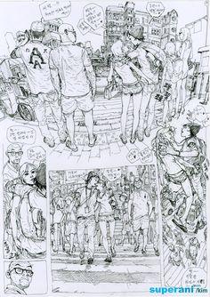 Dive into The Art of Kim Jung Gi, a korean artist born in 1975 in Goyang-Si in the province of Kyongki-Do. Drawing Skills, Figure Drawing, Drawing Reference, Drawing Sketches, Comic Book Artists, Comic Books Art, Comic Art, Street Art Graffiti, Junggi Kim