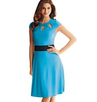 Cut-Out Dress- A-line with arm-flattering cap sleeves and a peek-a-boo neckline and a black band at the waist. Flared waist flatters midsection and the A-line fit glides over hips.  Regularly $24.99, buy Avon Fashion online at http://eseagren.avonrepresentative.com