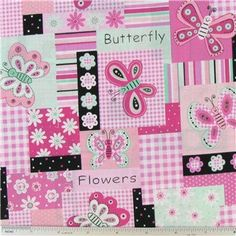 PInk Black Butterfly Patchwork Fabric By the Half by ByTheYard4U, $6.99