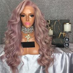 Good Quality Natural Hairline Free Sample Glueless Pink Full Lace Wig For Black Women Pink Wig, Hair Color Pink, Crown Hairstyles, Weave Hairstyles, Human Lace Wigs, Curly Hair Styles, Natural Hair Styles, Wig Styles, Best Virgin Hair
