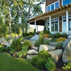 Front Yard Garden Design, Front Garden Landscape, Small Front Yard Landscaping, Landscaping With Rocks, Landscape Design, House Landscape, Corner Landscaping, Landscape Timbers, Landscape Architecture