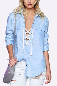Blue Lapel Collar Lace-up Design Shirt
