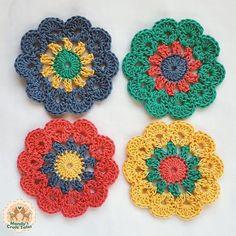 Crochet Coasters, Cath Kidston Inspired, Coasters, Table Savers, Crochet Table S. Mandala Au Crochet, Crochet Daisy, Crochet Flower Patterns, Crochet Home, Love Crochet, Crochet Gifts, Crochet Doilies, Crochet Flowers, Crochet Stitches