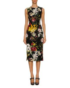 Sleeveless Bouquet-Print Charmeuse Cocktail Dress, Black Pattern by Dolce