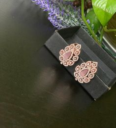 Designer AD rose gold two tone finished stud Earrings / CZ Statement earrings / Earrings/ Bollywood celebrity earring/ stud earrings Jhumki Earrings, Stud Earrings, Cute Nose Rings, Ear Chain, Product Life, Traditional Earrings, Imitation Jewelry, Stone Gold, Temple Jewellery
