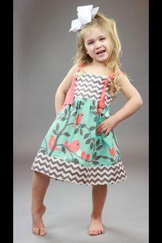 Cute chevron & bird pattern & color kid's dress