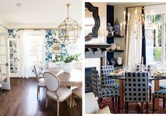 The serene dining room on the left has a patterned wallpaper of beautiful blue flowers and a chic pendant light fixture. On the right, an elegant chandelier, chinoiserie vases, and patterned dining chairs bring flair into the dining room. Patterned Dining Chairs, Blue Dining Room Chairs, Dining Room Design, Saddle Chair, Elegant Chandeliers, Bedroom Chair, Pendant Light Fixtures, Of Wallpaper, Chinoiserie