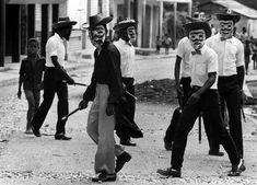 Tonton Macoutes patrolling a Haitian street 1988