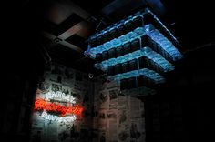 Another chandelier made from Jack Daniel's bottles.