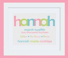 Nursery Art Baby Girl Birth Stats & Name Print: Custom Personalized 8x10 or 11x14 Poster in Aqua, Lime Green, Cotton Pink #quotes #kids