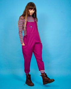 Buy organic 'Luna' twill cotton dungarees in Raspberry by lucy and yak handmade independent UK. We've used a lightweight twill which is Organic cotton. Dungaree Dress, Overalls Outfit, London Look, Denim Dungarees, Fall Capsule Wardrobe, Ethical Clothing, Beautiful Outfits, Beautiful Clothes, Fashion Over