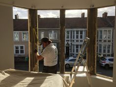 Photo taken during installation of new bay windows, Bristol