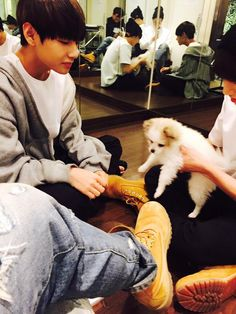 """BTS Tweet - V & Jungkook (selca) taken & posted by Jimin 150507 - - 귀여운 강아지가 멤버들 잠을 깨우는구마 오늘도 화이팅 -- [TRANS] """"This cute puppy is waking up all the members..hwaiting today too"""" -- cr: ARMYBASESUBS · @BTS_ABS"""