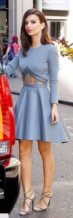 Who made Emily Ratajkowski's gray cut out dress and gold sandals that she wore in New York on October 6, 2014