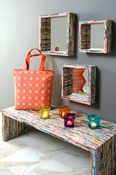 Multicolored recycled paper finish #bench