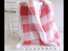 How to start and change colors in a gingham crocheted blanket - YouTube