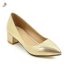 A&N Womens Chunky Heels Pointed-Toe No-Closure Gold Urethane Pumps-Shoes - 5.5 B(M) US - An pumps for women (*Amazon Partner-Link)