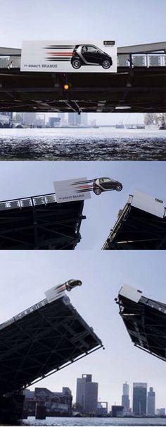 Smart car jumps the bridge!