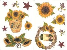 Sunflowers Floral 28pc Peel-n-Stick Decals Wall Stickers - http://decorwalldecals.com/sunflowers-floral-28pc-peel-n-stick-decals-wall-stickers/