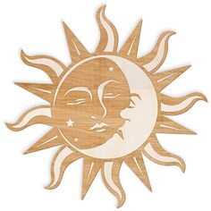 Sun and Moon Face Engraved Wood Sign Spiritual Wall Art, Wood Sun,... (£15) ❤ liked on Polyvore featuring home, home decor, wall art, engraved wood signs, star signs, sun wall art, handmade wooden signs and wooden signs