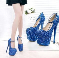 Womens Sequins 20Cm Stilettos High Heel Ankle Strap Platform Shoes Pumps Clubs #platformhighheelspump