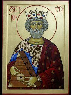 King David singing the Psalms Orthodox Prayers, King David, St David, Pope John Paul Ii, Divine Mercy, Old Testament, Orthodox Icons, Sacred Art, Religious Art