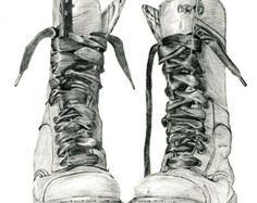 Pencil drawing of Doc Marten boots. Study of boots number 7 - Fine art print by Jennifer Bennett.