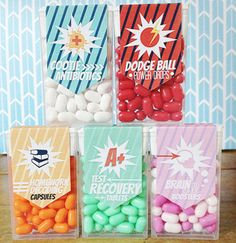 CUTE!!!  Back to School tic tac labels- test recovery tablets, brain cell boosters, homework decoding capsules, and more!