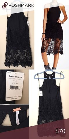 "Free people Nora Tank Dress xs Great dress by free people ! Brand new with tags. Purchased for $128. Size xs. Dress has a beautiful lace overlay    Approx. 41"" length Self: 50% modal, 50% cotton - Lace: 100% cotton Free People Dresses Midi"