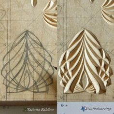 Chip carving by Tatiana Baldina – Chip Carving von Tatiana Baldina – Wood Carving Designs, Wood Carving Patterns, Wood Crafts, Diy And Crafts, Arts And Crafts, Chip Carving, Woodworking Inspiration, Got Wood, Stone Carving