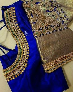 Royal blue bridal blouse with border highlights! For Orders and Queries reach us at / Whatsapp: 7010905260 Address: 21 Valmiki street, thiruvanmyur Hand Work Blouse Design, Simple Blouse Designs, Stylish Blouse Design, Aari Work Blouse, Wedding Saree Blouse Designs, Pattu Saree Blouse Designs, Silk Saree Blouse Designs, Designer Blouse Patterns, Sarees