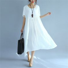 Folded Women Loose Casual Cotton Summer Splicing White Dress