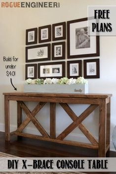 32 DIY TV and Media Consoles For Entertainment in Style <br> For creative home decor ideas be sure to make a DIY media console table or cabinet for TV & stereo. Farmhouse Sofa Table, Farmhouse Decor, City Farmhouse, Console Design, Diy Furniture Easy, Diy Furniture Plans Wood Projects, Table Furniture, Furniture Ideas, Rustic Furniture