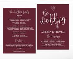 DIY fall burgundy marsala wedding program printable template