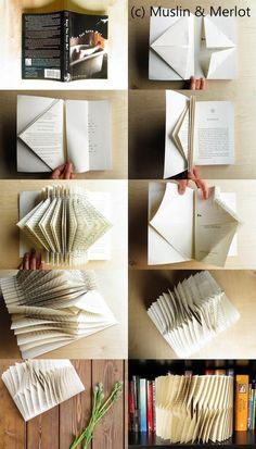 Have any books lying round? Turn them into folded book decor! Use as centerpieces or shelf decoration. Have any books lying round? Turn them into folded book decor! Use as centerpieces or shelf decoration. Old Book Crafts, Book Page Crafts, Book Page Art, Folded Book Art, Paper Book, Diy Paper, Paper Art, Paper Crafts, Recycled Books