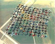 sky dive group jump