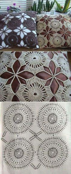 You can learn how to make Hippo Crochet Stitches Chart, Crochet Motif Patterns, Crochet Diagram, Crochet Squares, Filet Crochet, Crochet Designs, Crochet Bedspread, Crochet Cushions, Crochet Tablecloth