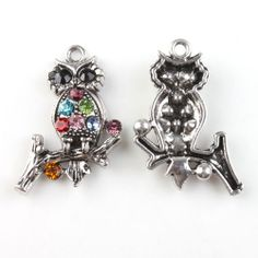 Antique Silver rhinestone Owl Pendant charms 33 by FindingsKeepers, $1.50