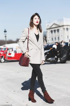 Shop this look on Lookastic:  http://lookastic.com/women/looks/crew-neck-t-shirt-double-breasted-blazer-crossbody-bag-skinny-jeans-ankle-boots/9313  — Black Crew-neck T-shirt  — Beige Double Breasted Blazer  — Burgundy Leather Crossbody Bag  — Black Skinny Jeans  — Burgundy Suede Ankle Boots