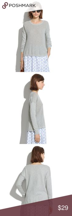 {Madewell} Cobblewalk Pullover Madewell Cobblewalk pullover sweater shirt size small.  Cotton.  Easy shirttail styling. Soft, marled cotton with a breezy textured front. A just-right layer for cool spring days.  Preowned, in good condition.  No trades / modeling. Madewell Sweaters